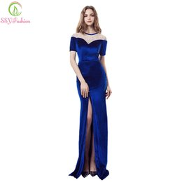 Wholesale Velour Robes - SSYFashion New High-end Evening Dress The Elegant Banquet Velour Blue Short Sleeves Long Mermaid Prom Party Gown Robe De Soiree