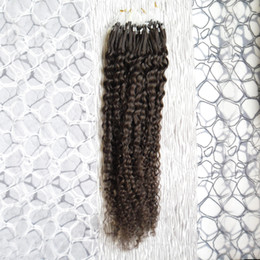 Wholesale Extension Hair Curly Micro - Human Hair Extensions Kinky Curly Micro Loop Ring Hair Extensions 100g 1g s 100s Remy Micro Bead Hair Extensions Darkest Brown
