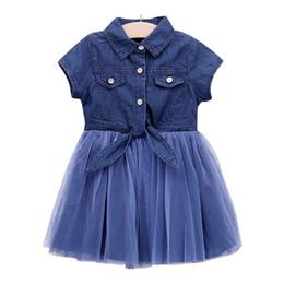 Wholesale denim tulle - 2018 New Baby Girls Denim Button Patchwork Tulle Ruffles Dress Cute Kids Denim Princess Western Fashion Summer Party Clothes Z11