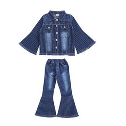 Jeans kinder mädchen mode online-Neue Mode Große Mädchen Sets Denim Kinder Kleidung Frühling Herbst 2 teile / los Aufflackernhülse Top + Flare Jeans Kinder Outfits