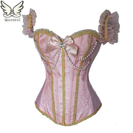 Wholesale Pearl Clothing - Sexy Lingerie Gothic Clothing Corselet Steampunk Pearl Corset Waist Trainer Corsets Corset Waist Trainer Corsets And Bustiers