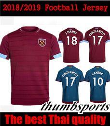 Wholesale Red Ham - 2018 2019 West Ham Unite home soccer Jersey away blue J.Mario 2018 2019 CHICHARITO Lanzini Football uniforms CARROLL SAKHO AYEW soccer shirt