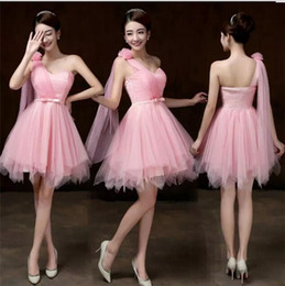 Wholesale short wedding evening gowns - 2018 New Summer Pink Short Bridesmaid Dresses Women Wedding Prom Party Cocktail Elegant Evening Gowns Beautiful Bridesmaid Gowns
