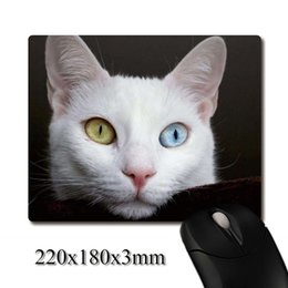 Wholesale gem weave - Like gems Bicolor pupils cat image printed Heavy weaving anti-slip rubber office mouse pad Coaster Party favor gifts 220x180x3mm