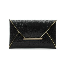 Wholesale Metallic Gold Clutch Purse - New Day Clutches Women Bags luxury brand Evening Party Bag Gold Sequins Envelope Bag Purse Clutch Handbags Shiny Solid Ultrathin