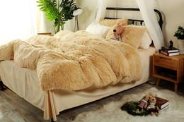 Wholesale Pink Black Crib Bedding - Brown Grey Orange Thick Fleece Winter Bedding sets Queen sizebed fit sheet set Duvet cover Pillowcase Soft Warm Bedclothes