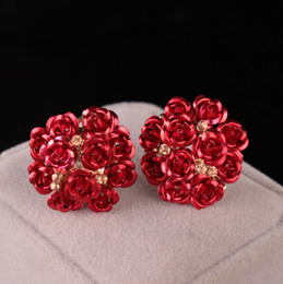 Fashion Rose Flower Boutique Orecchini Donna Crystal Stone Stud Rosso Dark Pink White Orecchini neri da