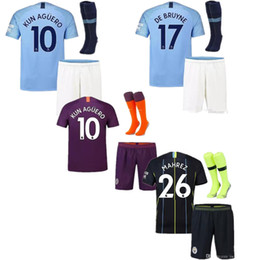 Kun aguero niños camiseta online-18 19 Man City Soccer Jersey Home Kids Kit 2019 City Away DZEKO KUN AGUERO KOMPANY TOURE YAYA DE BRUYNE Fútbol infantil Jersys
