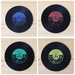 Wholesale Vinyl Mat Record - 2017 CD Records Coaster Vinyl CD Record Cups Drinks Holder Mat Tableware Placemat For Bar Home Cup Accessories XL-G19