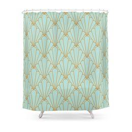 Série de banheiro on-line-Série Art Deco-Mint Verde Cortina de Chuveiro Tecido de Poliéster Casa de Banho Decoração de Casa À Prova D 'Água Cortinas de Chuveiro de Impressão