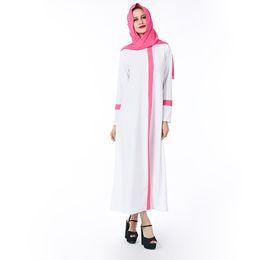 Wholesale Abaya Scarf - 2018 Beauty Garden Muslim White Women Dress Solid Plus Size Pink Scarf ZIipper Robe abaya islam Dresses Long sleeve Brand Dress