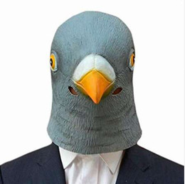 Costumi da piccione online-Hot Creepy Pigeon Head Mask 3D lattice Prop Animal Cosplay Costume Party Halloween Spedizione gratuita