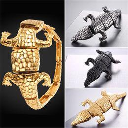 Wholesale Charms Crocodiles - U7 Jewelry Stainless Steel Crocodile Alligator Design Cuff Bracelet Gold Plated Black Gun Plated Men's Biker Jewelry GH2700