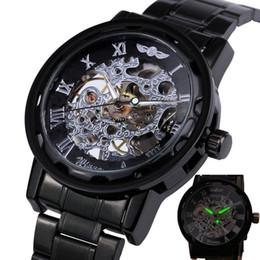 winner mens skeleton mechanical watch UK - 2018 WINNER Mens Mechanical Watches Hand-wind Stainless Steel Strap Watches Roman Number Skeleton Wristwatches Luminous Hands