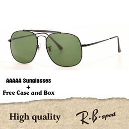 caixa superior de vidro Desconto 1 pcs Atacado-Top Quality Óculos De Sol das mulheres dos homens Designer de Marca armação de Metal uv400 espelho lentes de vidro Retro Eyewear com caixa e casos
