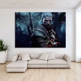 Wholesale Oil Painting Hunting - 1 Piece canvas art canvas the witcher painting wild hunt warrior poster home decor wall pictures for living room XA1667C