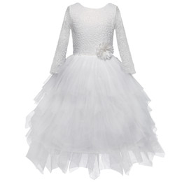 girls stereos Coupons - Girls Party Dress Stereo Flowers Lace Tulle Tutu Dresses Girls Back V-Neck Tiered Tulle Long Sleeves Kids Princess Dress