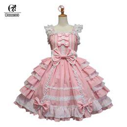 e473dbcfc0b ROLECOS Hot Sale Women Summer Sweet Lolita Dress Chiffon Lace Medieval  Gothic Princess Costumes for Girl
