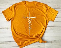 2019 vestiti religiosi Gesù croce T-Shirt Christian religiosa tshirt Donna Divertente Graphic t shirt tees Donna Unisex top drop drop vestiti di moda vestiti religiosi economici