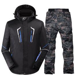 Wholesale Cream White Suits Men - Wholesale- 2017 Men's Ski Suit Waterproof Windproof Ski Jacket Pants Thicken Snow Clothing Trousers Men Snowboard Solid Color Ski Suits