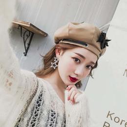 2019 berretto da berretto da prua Donna Sombrero Fashion Hot Solid Hat Inverno Donna Cappelli Papillon Girl Bonnets Tessuto di lana Cinghie di feltro Bandage Beret Beanie