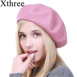 279d09e34b3c7 Xthree winter women's hat wool beret hat rabbit fur knitted beret for girl  fashion lady cap