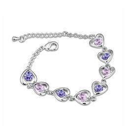 swarovski charme armbänder Rabatt Luxus Frauen Armbänder Temperament Herz durchbohrt Crystal Pulseiras für weibliche Kristalle von Swarovski 12796