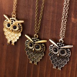 Wholesale Neclace Pendants - whole saleLNRRABC Vintage Women Owl Pendant Neclace Long Sweater Chain Jewelry jewelry Antique cheap Bronze Charm fashion free shipping