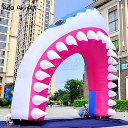 Arco de entrada on-line-Animal boca arco arco de tubarão inflável personalizado, modelo de cabeça de tubarão arco festival arco decorativo portão portão de entrada para eventos de festa