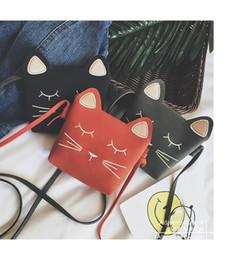 wholesale heart handbags 2018 - Children Cartoon Handbags Mini Cute Cat Face Bag Girls Lovely Shoulder Bag Kawaii Messenger Bag Kids Present Gift LC787-1