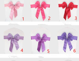 Wholesale Elastic Ribbon Belts - Spandex Wedding Chair Sashes Wholesale Bow Bowknot Chiffon Willow Elastic Cover Organza Chairs Sash Buckle Pink Back Ribbon Bands Belt