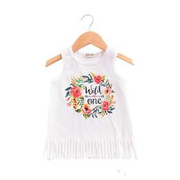 Vahşi Bir Mektuplar Çiçekleri için elbiseler bebek kız Püsküller Tankı Plaj elbise Sundress 2018 Yaz% 100% pamuk 1 T 2 T 3 T 4 T toptan nereden