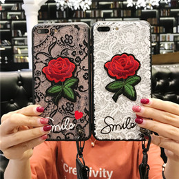 Wholesale Lanyard Lace - Fashion Lace Embroidery Rose Cover Emboss Flower Phone Case With Long Strap Lanyard Soft TPU+ PC for Iphone X 6 6plus 7 7plus 8 8plus