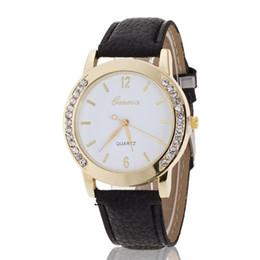 geneva gold rhinestone watch 2018 - Geneva Watch Women Rhinestone Watches Casual Analog FAUX leather Quartz Clock candy color new 2018