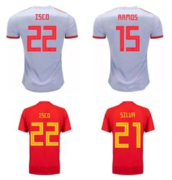 red spain uniform Coupons - 2018 World Cup Spain Home Away Soccer Jersey Spain Football Uniforms Shirt 22 ISCO 6 A.INIESTA 20 ASENSIO 19 Diego Costa RAMOS Saúl 21 SILVA
