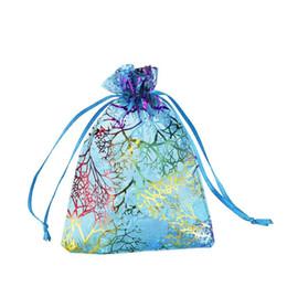 caramelo pc Rebajas 100 Unids Azul Coral Moda Organza Bolsa de Regalo de La Joyería Bolsas 4 TAMAÑOS Bolsa de lazo de Organza Regalo Bolsas de Dulces DIY Bolsas de Regalo