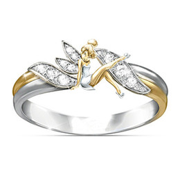 Fantasia Flor Fada Elf Cubic Zirconia Chapeamento Two-Toned Wedding Ring Jóias Presente 223 de Fornecedores de 14k gold charms vintage