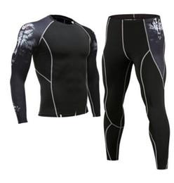 Мужская сжатый спортивный костюм наборы фитнес мужчины с длинным рукавом crossfit футболка мышцы рубашка леггинсы человек ММА рашгард комплект бесплатный экспресс от