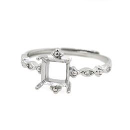 полуприцеп для принцессы Скидка Стерлингового серебра 925 обручальное кольцо обручальное 6x6mm Принцесса кабошон Semi Mount кольцо DIY камень Кристалл