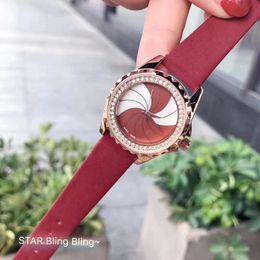 Wholesale top nude girls - Rotating windmill Women Watch Luxury Top brand watches Rhinestone Dial Genuine Leather Strap Quartz Elegant Wristwatch for ladies girl 2018