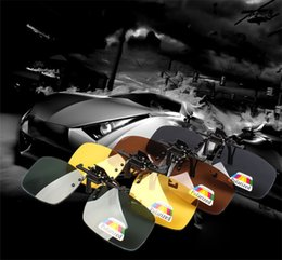 Occhiali da sole gratuiti clip online-50pcs occhiali polarizzati clip flip up uv400 clip su occhiali da sole clip-on flip-up sport guida visione notturna lens occhiali da sole spedizione gratuita