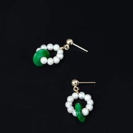 Wholesale handmade fashion earrings - 14k Gold Filled Charm designer earrings jewelry fashion Handmade Female natural freshwater pearl dry green jade earring china direct