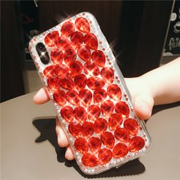 Wholesale iphone cases rhinestones handmade - Luxury Handmade Bling Diamond Rhinestone Crystal Shinny Acrylic Cover Hard Phone Case For iPhone X 8 Plus 7 6 6S Samsung Galaxy S9 S8 Note 8