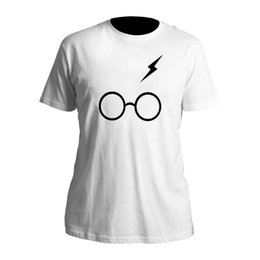 Mens Boys Harry Potter Relâmpago Scar Óculos Preto T-Shirt Branca T-shirt  (S-XXL) menino de óculos preto ofertas 2df53d6c3f