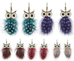 Wholesale ethnic earrings sale - Fashion Earrings Ethnic Female Owl Feather Dangle Earrings For Women Pendant Earring Jewelry 5 Styles Hot Sale D903Q