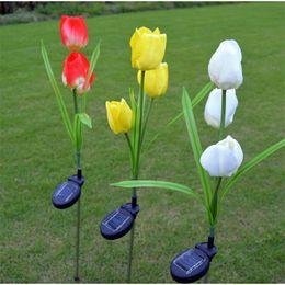 Wholesale led tulip light - Tulip LED Light 3 Head Solar Energy Outdoors Simulation Artificial Flower Lawn Lamp Multi color Garden Lights Courtyard Decoration 21wn Y