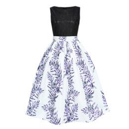 50S Vintage Style Hepburn Dentelle Composite Piecing Imprimer Floral Couleur Clock Flare Dress ? partir de fabricateur
