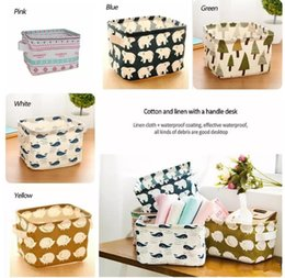 Wholesale Storage Baskets Cotton - Laundry Storage Baskets Box Portable Cotton Linen Foldable Basket Cloth Toy Snack Organizer 5 Color