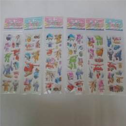 Wholesale Airplanes Wing - whoelsale 20pcs Super Wings Plane Robot Flash Temporary Tattoo Sticker Kids Cartoon SuperWings Deformation 3D Airplane stickers