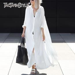 Wholesale oversize black dress - TWOTWINSTYLE Long Shirt Dress Female V Neck Split Single Breasted White Dresses 2018 Spring Summer Fashion Oversize Clothing
